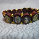 Brazilian Wood Panel Stretch Bracelet with Saints