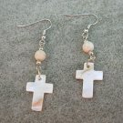 Mother of Pearl Cross Natural Bone Fossil bead Dangle Ear Rings