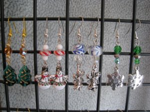 Christmas Tree Snowman Silver Bells Snowflake Ear Rings set #1