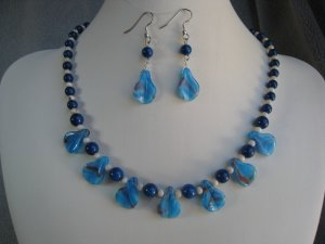 Dark Blue Natural Fossil Gemstone Beads Blue Swirl Lampwork Glass Beads Necklace Ear Ring set
