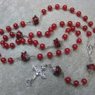 Red Quartz Gemstone Red Black Lamp Work Rosary 8mm beads