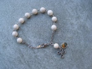 One Decade Natural Fossil Gemstone Silver Open Cross Madonna and Child Saint Charm Rosary Bracelet