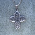 Pewter Four Way Holy Spirit Cross Pendant Silver Chain Necklace