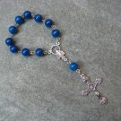 One Decade Rosary Blue Fossil Gemstone Madonna Center Silver Crucifix 8mm beads