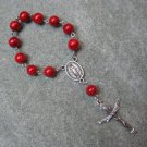 One Decade Rosary Red Fossil Gemstone Miraculous Center Silver Trinity Crucifix 8mm beads