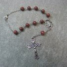 Automobile Rosary Red Sesame Jasper Gemstone Silver Crucifix 8mm beads