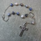 Automobile Rosary Sodalite Gemstone Silver Crucifix 8mm beads