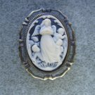 Ivory Guardian Angels Black Background Cameo Brooch Antiqued Gold Setting