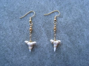 Wired Shark Tooth Dangle Ear Rings