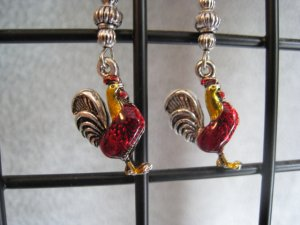 Red Yellow Enamel Rooster Chicken Charm Farm Dangle Ear Rings