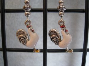 White Yellow Red Enamel Rooster Chicken Charm Farm Dangle Ear Rings