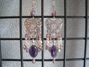 Amethyst Faceted Oval Gemstones Clear and Amethyst Crystals Silver Heart Filigree Dangle Ear Rings