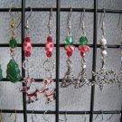 Christmas Trees Reindeer Snowflake Lampwork Crystal Ear Rings set #6