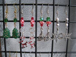 Christmas Trees Reindeer Snowflake Lampwork Crystal Ear Rings set #6