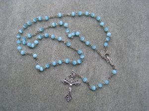 Light Blue Cats Eye Glass Rosary Silver Crucifix 6mm beads