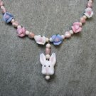Bunny Watercolor Hearts Blue Pink White Porcelain Roses Natural Fossil Beads Girls Necklace