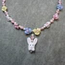 Bunny Watercolor Hearts Blue Pink White Yellow Porcelain Roses Natural Fossil Beads Girls Necklace