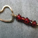 Red  Black Bumpy Lampwork Beaded Gold Toned Heart Key Chain Ring