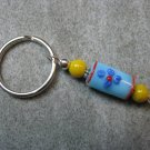 Blue with Blue Flowers and Yellow Lampwork Beaded Silver Toned Round Key Chain Ring