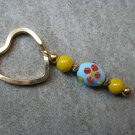 Blue with Red Flowers and Yellow Lampwork Beaded Gold Toned Heart Key Chain Ring
