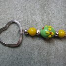 Green with Yellow Flowers and Yellow Lampwork Beaded Silver Toned Heart Key Chain Ring