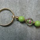 Pink Green Floral Lampwork Beaded Gold Toned Round Key Chain Ring