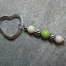 Green Lampwork Beaded Silver Toned Heart Key Chain Ring