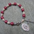 Czech Fuchsia and Ivory Pearl Glass Rosary Bracelet with Saint Martha Medal