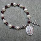 Czech White and Burgundy Pearl Glass Rosary Bracelet with Saint Raymond Medal