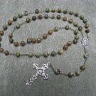 Rhyolite Gemstone Rosary Pewter Crucifix Scapular Center Piece 8mm beads