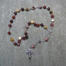 Moukaite Jasper Gemstone Anglican Rosary Silver Crucifix 8mm beads