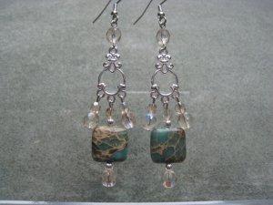 Aqua Terra Jasper Gemstone Khaki Crystals Dangle Ear Rings