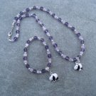 Black White Panda Purple Glass Bi-cone Beads Lavender Cubes Necklace Bracelet set Silver Accents