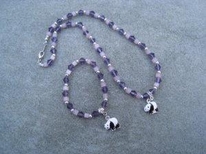 Black White Panda Purple Glass Bi-cone Beads Lavender Cubes Necklace Bracelet set Silver Accents