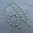 Green Ladybug Green Glass Bi-cone Beads White Glass Pearls Necklace Bracelet set Silver Accents