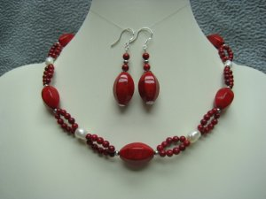 Red Fossil Gemstones White Freshwater Pearls Necklace Ear Ring Set