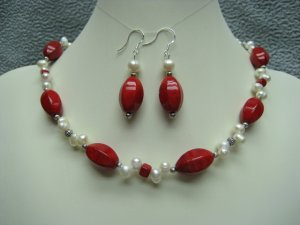 Red Fossil Gemstone Top Drilled White Freshwater Pearl Necklace Ear Ring Set