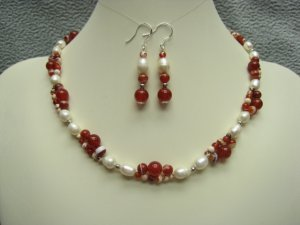 Red Agate Gemstone White Freshwater Pearls Necklace Ear Ring Set With Silver Accents