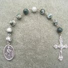 Tree Agate Gemstone Saint Patrick One Decade Chaplet Rosary Silver Crucifix 8mm Beads