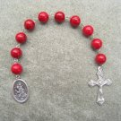 Red Fossil Gemstone Saint Christopher One Decade Chaplet Rosary Silver Crucifix 10mm Beads