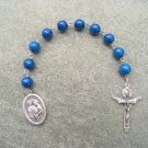 Blue Fossil Gemstone Holy Family Holy Spirit One Decade Chaplet Rosary Trinity Crucifix 8mm Beads