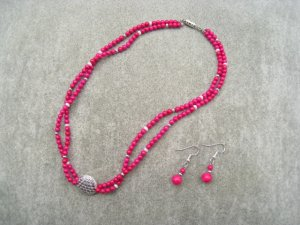 Rose Pink Fossil Gemstone White Freshwater Pearl 2 Strand Necklace Ear Ring