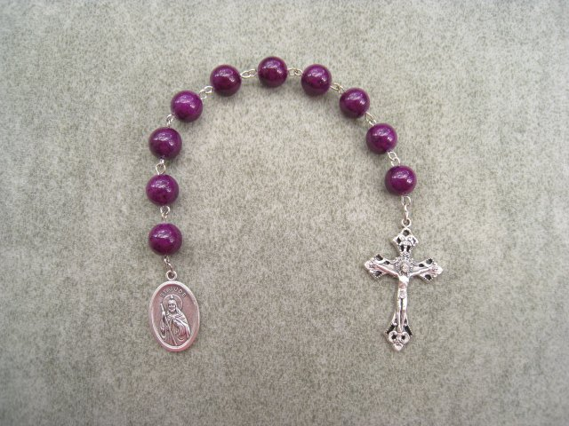 Plum Fossil Gemstone Saint Jude One Decade Chaplet Rosary Silver Crucifix 10mm Beads