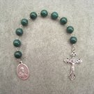 Green Mountain Jade Saint Peter One Decade Chaplet Rosary Silver Crucifix 10mm Beads