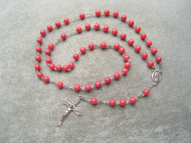 Coral Mountain Jade Miraculous Rosary Silver Crucifix 8mm Beads
