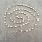 Howlite Gemstone Rosary Silver Crucifix Soil Filled Center 8mm Beads