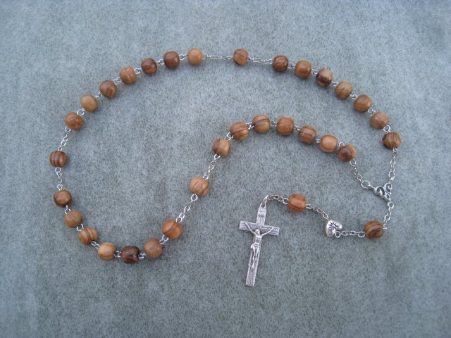 Olive Wood Anglican Rosary Silver Crucifix 8mm Beads