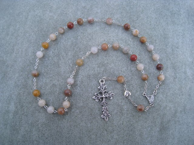 Colonial Jasper Gemstone Anglican Rosary Silver Cross 8mm Beads