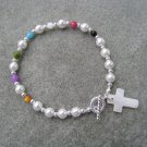 Christian Salvation Bracelet Czech Pearl Bead Mother of Pearl Cross #6