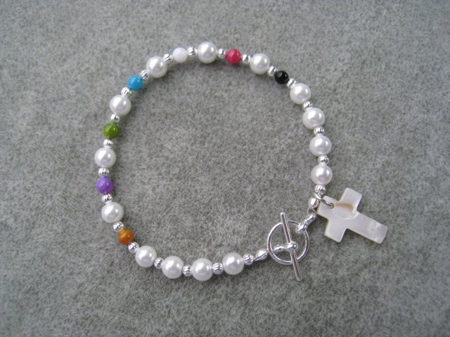 Christian Salvation Bracelet Czech Pearl Bead Mother of Pearl Cross #5